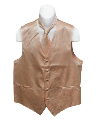 Fine Brand Shop Men's Peach Paisley Jacquard Suit Vest and Neck Tie Set - XXXX-Large