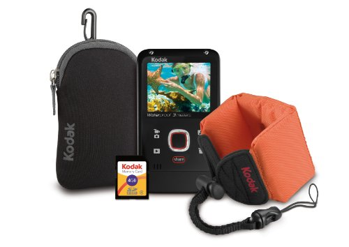 Kodak PlayFull Waterproof Video Camera Bundle (Includes Floating Wrist Strap, 4GB Memory Card, and Camera Case) - Black Bundle (2nd Generation)