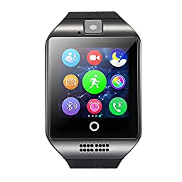 Amanstino Wireless Smartwatch with Camera Original Q18 Tf/sim Card Slot for Ios(Partial Functions Play music via bluetooth and answer the phone) & Android(full Functions) Devices(16g Black)