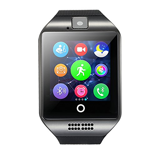 Amanstino Wireless Smartwatch with Camera Original Q18 TF/SIM Card Slot for Android Samsung Galaxy/Note and iOs(Partial Functions)32G Black