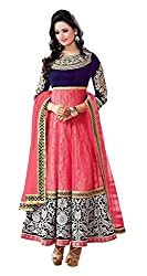 Arya Dress Maker Women's Georgette Unstitched Dress Material (Pink and Blue)