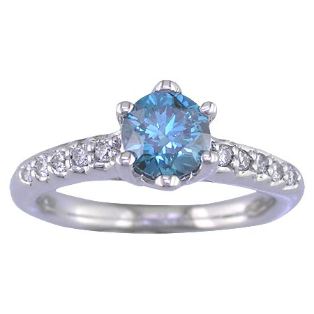 14K White Gold Blue Diamond Engagement Ring (1.15 CT) In Size O