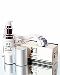 Vitamin C Facial Serum with Hyaluronic Acid Derma Roller 540 Needle 1.0 mm Facial Skin Care Set For Acne Scar Treatment, Wrinkle Reduction and Overall Skin Care from Skin Secret