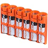 "Storacell by Powerpax Slim Line ""AAA"" Battery Caddy, Orange - Holds 6 ""AAA"" Batteries"