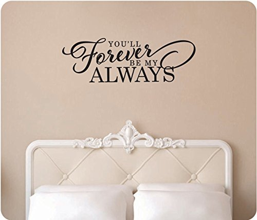 "34"" You'Ll Forever Be My Always True Love Kiss Bedroom Anniversary Wedding Wall Decal Sticker Art Mural Home Décor Quote"