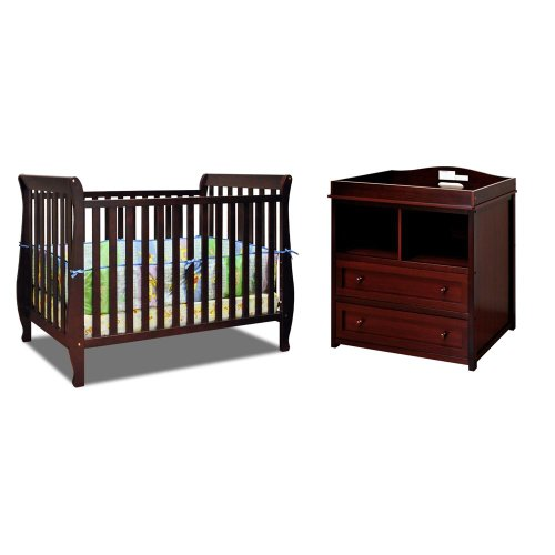 Baby Mile Hannah 4-In-1 Convertible Crib With Toddler Rail And Lena 2 Drawer Changer, Cherry front-83588