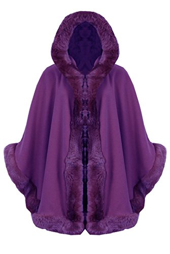 [MyMix Trendz - New Womens Faux Fur Hooded Wrap Puncho Cape (One Size (UK 8-18), Purple)] (Purple Hooded Cape)
