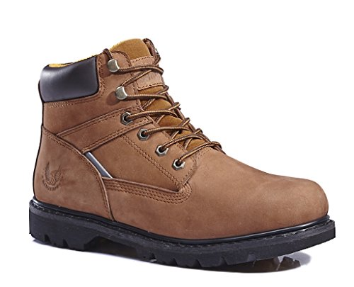 KINGSHOW Menu0026#39;s 1406 Premium Brown Full-Grain Leather Plain Rubber Sole Soft Toe Work Boots 11 M ...