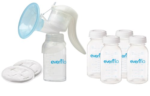 Evenflo Manual Breast Pump with Milk Storage Bottles & Disposable Breast Pads