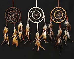 Dreamcatcher double ring earthtone color 6 5 for How to make a double ring dreamcatcher