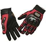 TCBunny® Carbon Fiber Pro-Biker Bicycle Motorcycle Motorbike Powersports Racing Gloves (L, RED)