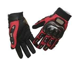 Carbon Fiber Pro-Biker Bicycle Motorcycle Motorbike Powersports Racing Gloves (XL, Red)