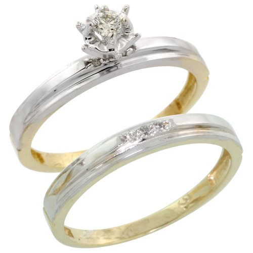 Sterling Silver (Gold Plated) 2-Piece Diamond Engagement Ring Set, w/ 0.07 Carat Brilliant Cut Diamonds, 1/8 in. (3mm) wide, Size 10