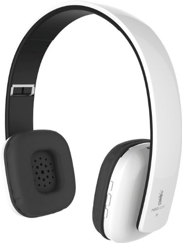 Neojdx Venice Wireless Bluetooth Headphone For Music Streaming And Hands-Free Calling With Built-In Mic/ 14 Hour Battery / Noise Isolation / Noise Cancellation And Hard Travel Case - Syncs To 2 Devices - White