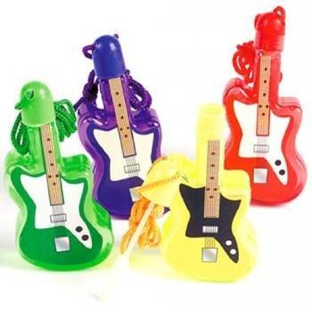 Guitar Shaped Bubble Bottle Necklaces (1 dz)