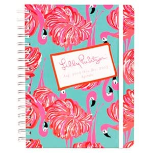 "2012-2013 Lilly Pulitzer ""GIMME SOME LEG "" Large Agenda w/ Flamingo / 17 Month Datebook Planner"