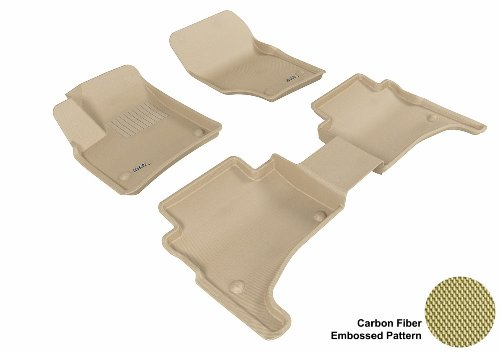 3D Maxpider Complete Set Custom Fit All-Weather Floor Mat For Select Porsche Cayenne Models - Kagu Rubber (Tan)