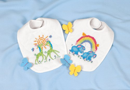 Dimensions Needlecrafts Stamped Cross Stitch, Noah's Ark Bibs - 1