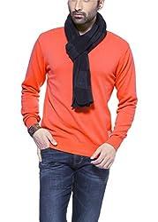 Zovi Cotton Dull Orange Solid V-neck Pullover (10407903401_L)