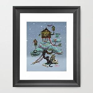 Society6 christmas tree framed art print by for Christmas wall art amazon