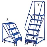 """Relius Solutions 60-Degree Standard Slope Ladders - 5 Steps - With Handrails - 18""""Wx14""""D Top Step - (03) - Blue"""