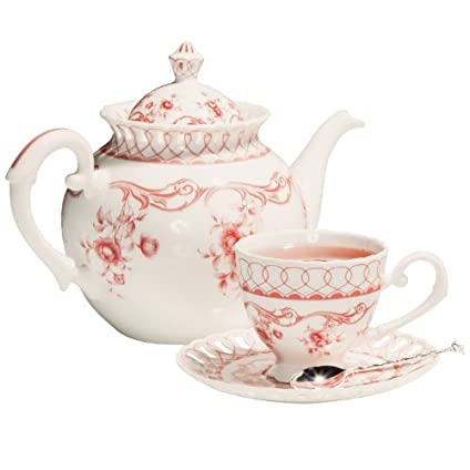 Pink Vine Tea Set