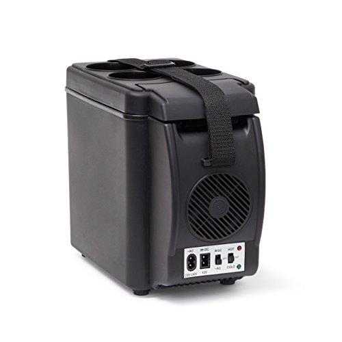 Kühlbox mit Getränkehalter HBT 27 x 17 x 33 cm Kühltasche mit praktischem Tragegurt und Getränkehalter für 4 Dosen elektrischer Mini Kühlschrank mit 12V-Anschluss für unterwegs, schwarz