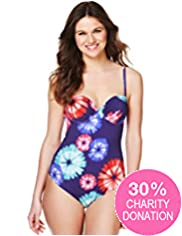 Fashion Targets Floral Tie Dye Print Swimsuit