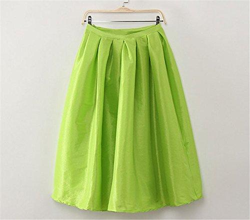 [Sicong2 Beautiful Retro Pleated Maxi Long Skirt High Waisted Saia Midi Puff New 2016 Atacado Roupas Femininas Autumn Skirts Female Womens Vestidos Neon GreenL] (Puff The Green Dragon Dress)