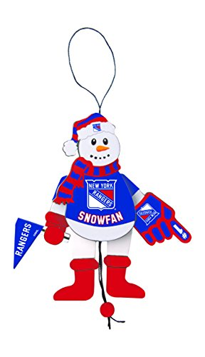 NHL New York Rangers Wooden Cheering Snowman Ornament