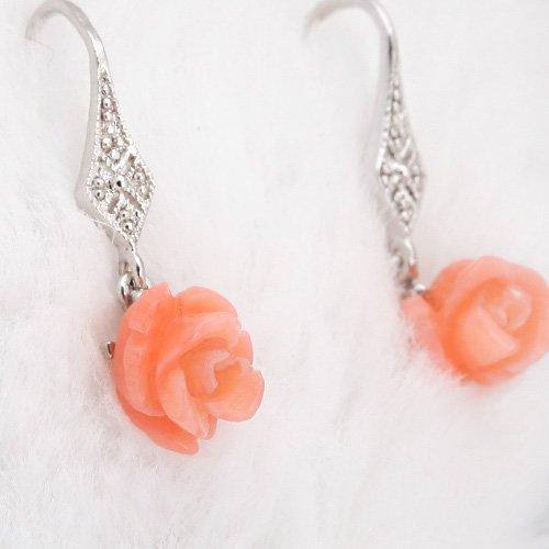 RISAcrystal(リサクリスタル) コーラル 珊瑚 薔薇 ROSE ピアス シルバー925