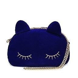 XMLiZhiGu New Fashion Casual Cute Chain Cat Crossbody Shouder Mini Bag for Women Blue