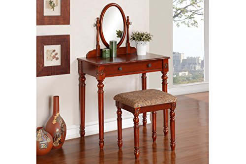 Delightful Dark Cherry Vanity Set With Oval Mirror And Matching Stool
