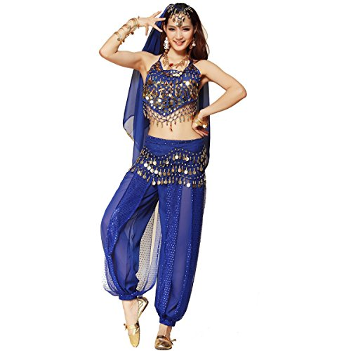 Women's Belly Dance Costume 3-Pc Beads Bells Top Harem Pants Hip Scarf Belt