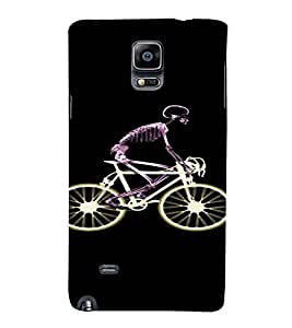 PrintVisa Skeleton Cycle Design 3D Hard Polycarbonate Designer Back Case Cover for Samsung Galaxy Note 4