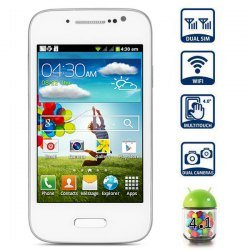 Generic Unlocked Quadband 2 sim with Android 2.3 OS (Android 4.1 UI) Smart Phone 4.0 Inch Capacitive Touch Screen Compatible with GSM carriers T-mobile Simple mobile (White)