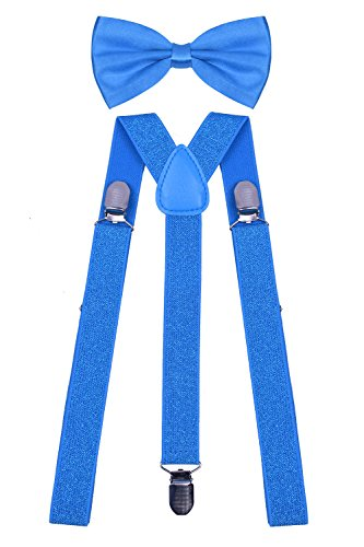 WDSKY Blue Bow Tie and Suspenders Set for Mens Leather Suspenders Blue Glitter (Glitter Suspenders)