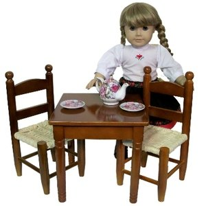 The Queen's Treasures Country Square Kitchen Table with 2 Ladder-Back Chairs Perfect for American Girl 18-Inch Dolls