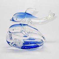 ガラスの置物【イルカ 二匹タイプ】No.5166
