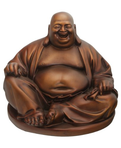 Happy Buddha Statue: Mahogany Finish Resin Hotei (Laughing Buddha) Statue