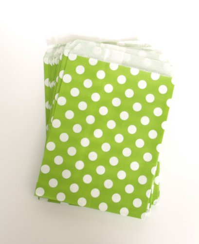 Dessert Buffet Grab-And-Go Bag Sacks, Green Polka Dot (25 Pack) - Party Favor Ideas For Wedding Reception Guest Food Gifts front-923959