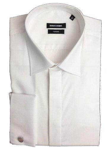 Remus Uomo Tapered Fit Standard Collar White Dress Shirt - 15.5