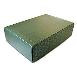 "Green/ Gold Diamond Pattern - Large Two Piece Gift Box (7"" x 10"" x 2.75"")"