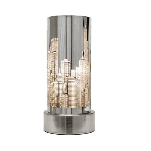 Chrome touch bedside table lamp with new york skyline shade for Bedside table lamp shades