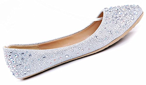 JJF Shoes Larisa Silver Bling Sparkling Rhinestone Glitter Slip Loafer Ballet Flat Shoes-8.5