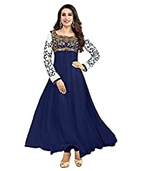 Shree Hans Creation Karishma Navy Blue Georgette Anarkali Dress Material