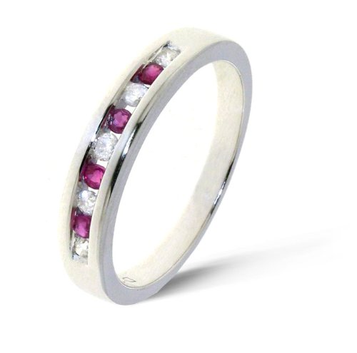 Classical 9 ct White Gold Women Channel Set Diamond Ring Brilliant Cut 0.32 Carat I-I1 with Ruby