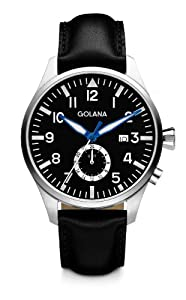 Golana Aero Gmt Men's Quartz Watch with Black Dial Analogue Display and Black Leather Strap AE500-1