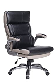 VIVA OFFICE High Back Office Chair, Thick Padded Black and Light Grey Bonded Leather Managerial…