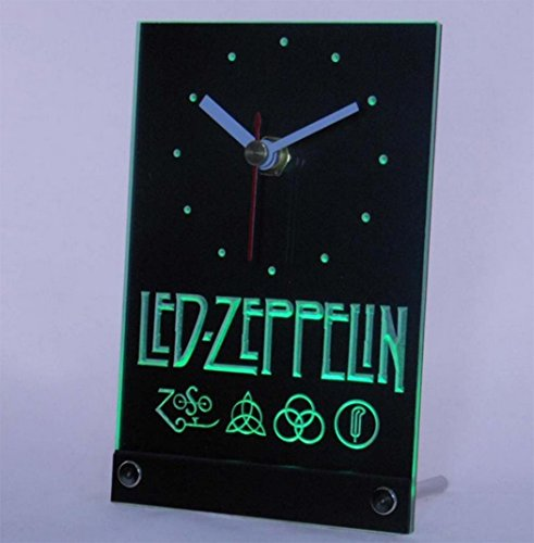 Wisedecor Green Led Zeppelin Rock N Roll Punk Table Desk 3D Led Clock